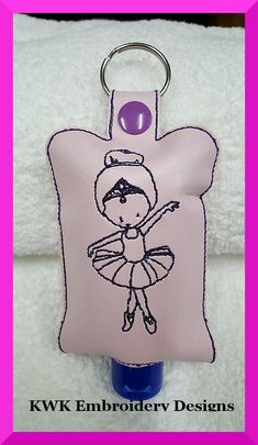 "Ballerina Hand Sanitiser Holder Snap TabThe Sanitiser holder is all done entirely in the 5x7 hoop no extra sewing required There is one size in this file but it will fit all common Sanitisers up to 2oz Size: 4.11""(w) X 6.41""(h) (104.4 X 162.9mm)Total Stitches: 3455This is in 5x7 hoop size only in the following formats:- EXP, DST, HUS, JEF, PES, VIP, VP3, & XXXNo refunds will be given on digital files.These are digital machine embroidery designs. You must own an embroidery machine and know h"
