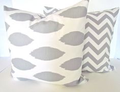 IKAT PILLOWS 20x20 GRAY Throw Pillow Covers 20 by SayItWithPillows, $16.95