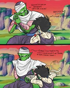 Gohan patching up Piccolo