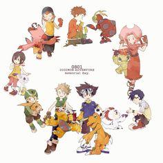 Digimon Adventure - 08/01 Memorial Day: (from The Center) Matt (Yamato) with Gabumon, Tai (Taichi) with Agumon, Joe with Gomamon, Mimi with Palmon, Izzy (Koushiro) with Tentomon, Sora with Biyomon (Piyomon), Kari (Hikari) with Gatomon (Tailmon) and T.K. (Takeru) with Patamon