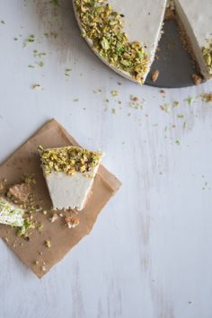 Lime and Pistachio Cheesecake with Almond and Coconut Flour Base A