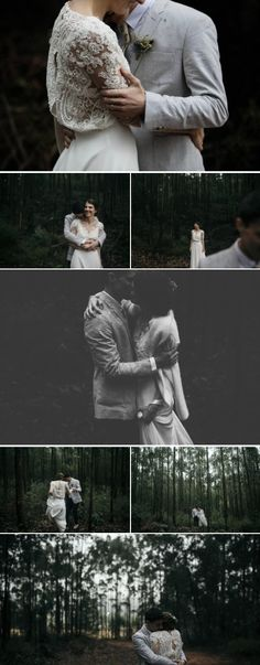 Moody forest winter wedding with the bride in a vintage feel dress with delicate lace and beading and the groom in a light grey suit | Photography by He Is Visual