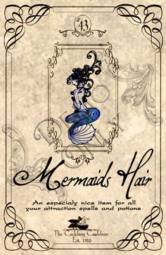 Mermaids-Hair-Label (a_granger) Tags: autumn halloween book magick label magic spell haunted labels apothecary cauldron charms potions spells potion cackling halloweendecorations curses spellbook hexes apothecarylabels potionlabels