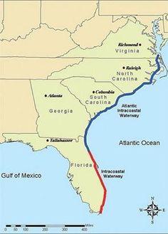 Intracoastal Waterway - Notranja plovna pot Raleigh North Carolina, South Carolina, Gulf Of Mexico, Atlantic Ocean, Armed Forces, Brownsville Texas, Virginia, Coast, Florida
