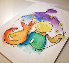El petit princep. El principito. Le petit prince. #tattooed #tattoo #tattooartist #tatoo #stars #sky #wolf #design #draw #fox #water #watercolor #watercolour #acuarela #zorro #elprincipito #lepetitprince #illustration #ink #sketch