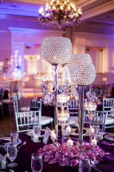 Suhaag Garden, Indian wedding decorator, Florida California Atlanta, wedding reception, silver and purple, crystal bowl centerpieces