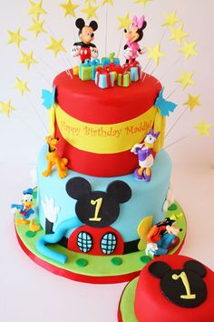 Custom First Birthday Cakes NJ New Jersey Pastel Micky Mouse, Pastel Mickey, Mickey And Minnie Cake, Bolo Minnie, Mickey Cakes, Custom Birthday Cakes, First Birthday Cakes, Custom Cakes, 2nd Birthday