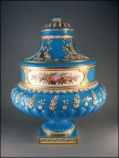 Coalport Porcelain Urn Vase and Cover – Circa 1850 Celeste Blue For sale on Ruby Lane #RubyLane
