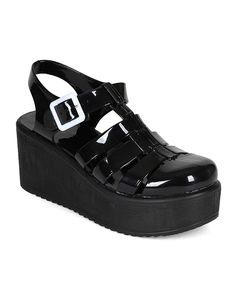 Nature Breeze CC98 Women Jelly Gladiator Platform Wedge Heel Sandal - Black * See this great product.