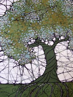 Mary jo Scandin - the process appears to be flour paste resist, cracked and then dyed and tree dye painted last.