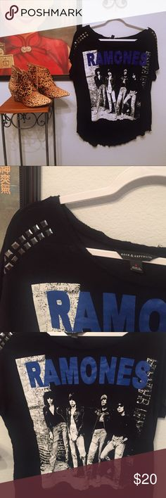 Rock&Republic tee Ramones tee by Rock&Republic with metal studs to shoulders.  Slightly longer at back. Rock & Republic Tops Tees - Short Sleeve