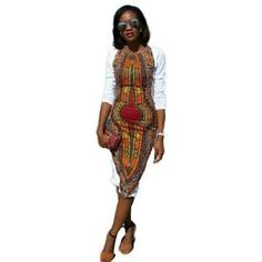 bf48ef3669f Fashion Women Summer Bodycon Casual O-Neck Traditional African Print Party Dress  African Party Dresses