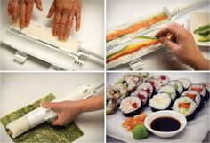 Open your Sushi tool and lightly oil the inside. Perfect sushi is no longer an expensive restaurant food. Professional, round sushi can now be created in your own kitchen with your own choice of fillings. Sushi Set, Diy Sushi, Homemade Sushi, Sushi Sushi, Sushi Seaweed, Gourmet Cooking, Cooking Tools, Cooking Sushi, Sushi Rolls
