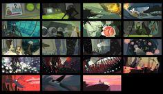 - color script - by ~porkbun on deviantART Background Drawing, Animation Background, Color Script, Environment Concept Art, Color Studies, Visual Development, Animated Cartoons, Stop Motion, Color Theory
