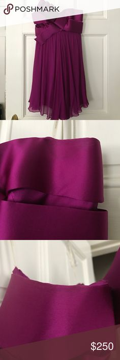 Marchesa Notte purple cocktail dress size 4 Marchesa notte purple/magenta short cocktail dress with pretty bow front. Size 4. A beautiful dress, just needs to be dry cleaned (has sweat stain at armpit) in the interior the loop for hanging the dress came loose but will still hang on a hanger. Chiffon dress that lays so beautifully Marchesa Dresses Strapless