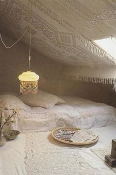 bohemian interiors   Tumblr. Weird lace on the wall/ceilings?