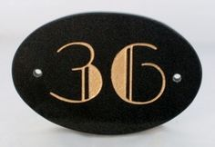 oval Art Deco House numbers & name signs - type 1 sign