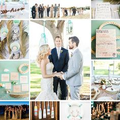 Happy #moodboardmonday! We are swooning over this #gorgeous #seaside #wedding featured on @smpweddings. #elegant #chic #nautical #beach #mint #inspiration #WatsonsBay #Australia #destinationwedding