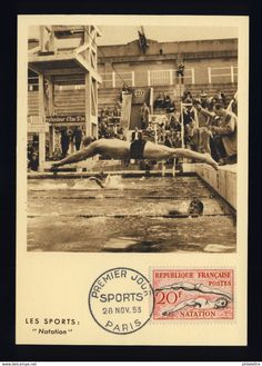 FLASH Lot 925 - 1953 - CARTE MAXIMUM N°960 LA NATATION (PREMIER JOUR)