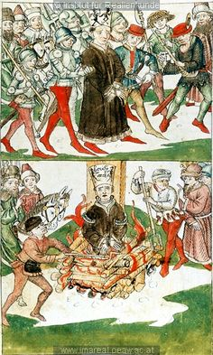 Verbrennung des Hus   Dieses Bild: 006709A    1465 ; 1475 ; Wien ; Österreich ; Wien ; Österreichische Nationalbibliothek ; cod. 3044 ; fol. 81v