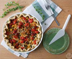 Eggplant, mozzarella and tomato tart :http://www.theodoraskitchendiaries.eu/2015/06/01/eggplant-mozzarella-and-tomato-tart/