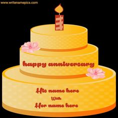 write a couple name on happy Anniversary yellow color beautiful cake pic. beautiful anniversary cakes with name edit for free. make a happy anniversary wishes cake. Happy Marriage Anniversary Cake, Anniversary Cake Pictures, Anniversary Cake With Name, Wedding Anniversary Wishes, Anniversary Cards, Cake Name Edit, Greeting Card Maker, Happy Birthday Cake Photo, Cake Images