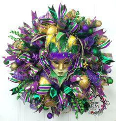 Deco Mesh Mardi Gras Wreath for Door or Wall Fleur de Lis, Fat Tuesday, Jester Mask by www.southerncharmwreaths.com #mardigras #wreath #fattuesday