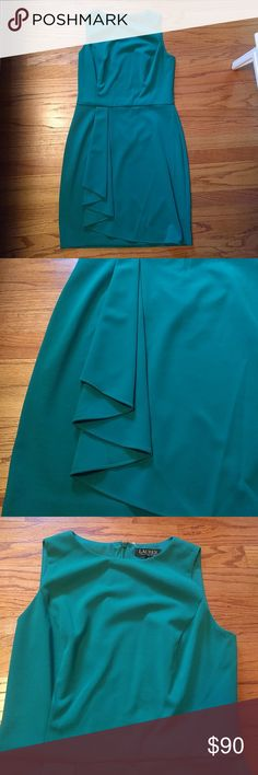 Ralph Lauren Essentials Green dress Kelly green (pics don't show how pretty the green really is) shift dress with a wrap skirt that gathers over the right leg. Wrap on skirt does not open. Zipper closure on back. Ralph Lauren Dresses Midi