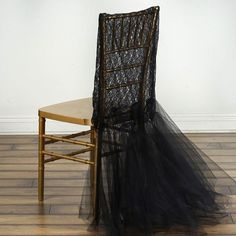 Lace with Tulle Tutu Chair Cover Wedding Decorations - Black Folding Chair Covers, Banquet Chair Covers, Wedding Chair Sashes, Wedding Chairs, Black Tablecloth, Slipcovers For Chairs, Chair Cushions, Tulle Tutu, Halloween Party Decor