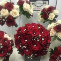 Bridal bouquet with red roses.