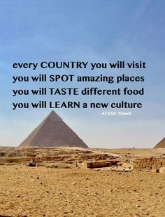 Every COUNTRY you will visit , You will SPOT amazing places , You will TASTE different food , You will LEARN a new culture. #atvsctravelquotes #travel9stars #travel #travelquotes #quotes #inspiration