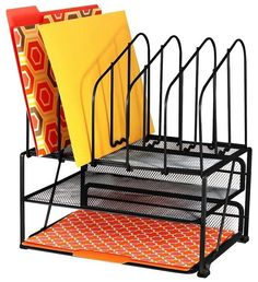 Desk Organizers Office Storage Mesh Racks Double Tray Metal File Folder Letter #DecoBrothers