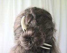 Hair Fork Deer Antler Tip Bone Horn Ivory Carving by JCMcCairn