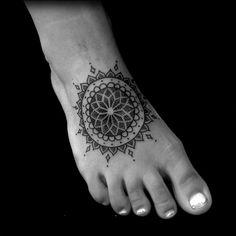 mandala tattoo foot