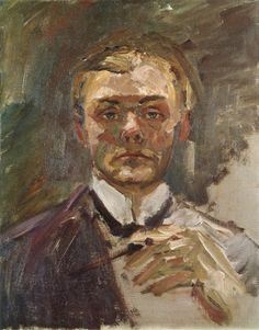 Self Portrait with Raised Hand (unfinished) - Max Beckmann, 1908
