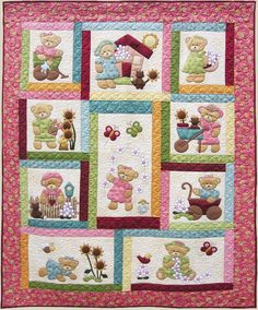 Fabric Patch Daisy Bear - by Kids Quilts - Quilt PatternSECONDARY_SECTIONDaisy Bear Quilt Pattern by Kids Quilts This is a cute single/twin bed Teddy quilt for the little girls out there. Completed size: x x Single/twin bed applique quilt Quilt Baby, Baby Girl Quilts, Girls Quilts, Panel Quilts, Quilt Blocks, Patch Quilt, Motifs D'appliques, Applique Quilt Patterns, Bear Patterns