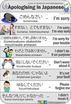 Valiant Language School — Apologising in Japanese Study Japanese with. - Valiant Language School — Apologising in Japanese Study Japanese with… - Learn Japanese Words, Study Japanese, Japanese Kanji, Japanese Culture, Learning Japanese, Learning Italian, Japanese Quotes, Japanese Phrases, Japanese Grammar
