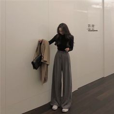 ever after Plain Wide-Leg Pants Korean Girl Fashion, Korean Street Fashion, Look Fashion, Teen Girl Fashion, Korea Fashion, Fashion Spring, Trendy Fashion, Hijab Outfit, Cute Casual Outfits