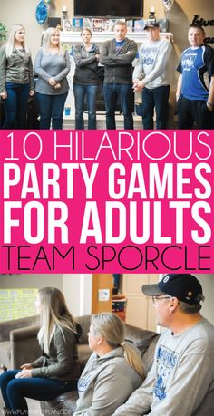 10 hilarious party games for adults that would work great for teens or for groups too! Play indoor or outdoor at a family reunion or birthday party! It doesnt matter theyre funny either way! And best of all no drinking or alcohol required! Adult Party Games For Large Groups, Christmas Party Games For Groups, Party Games Group, Office Party Games, Indoor Party Games, Holiday Party Games, Adult Games, Thanksgiving Games For Adults, Party Games For Ladies