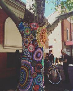 erinomachi:  Bohemian Groot - is yarn bombing still a thing? #GuerillaKnitting (at Queen Victoria Markets)