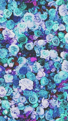Blue and purple floral wallpaper