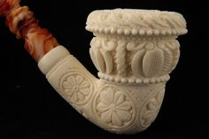 Topkapi Calabash Hand Carved Block Meerschaum Pipe in a fitted CASE 6446