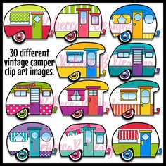 Vintage Camper Clip Art Retro Camper Clipart by RebeccaBDesignShop