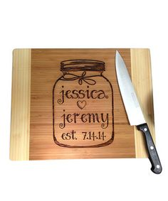 A great gift to show appreciation for friends or a charming celebration of familial affection, this cutting board is perfectly personalized with any loved ones' names and anniversary or birth date.