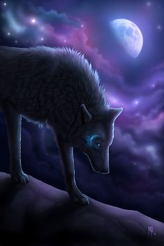 Moon cycle. He's a major goofball. He's a pup in a wolfs body. He's sweet and protective of his sister Northern lights. He will probably never stick with one female. No mate, lots of lone wolf pups. (Me)