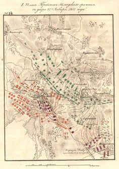 Battle of Eylau: 7-8 February 1807,early on the second day. French shown in red, Russians in green, Prussians in blue.