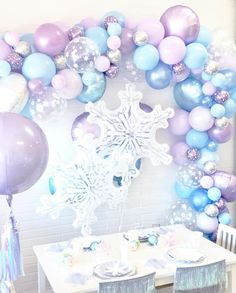 Frozen Balloon Garland Kit - Frozen Balloon Arch, Winter Onederland Party - Frozen Birthday Party, F Elsa Birthday Party, Winter Birthday Parties, Frozen Themed Birthday Party, Disney Frozen Birthday, Frozen Birthday Party, 4th Birthday, Birthday Ideas, Winter Onederland Party Girl 1st Birthdays, Winter Party Themes