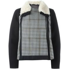 Moncler Gamme Rouge checked padded jacket (£2,210) ❤ liked on Polyvore featuring outerwear, jackets, black, checkered jacket, feather jacket, padded jacket, moncler gamme rouge and black jacket