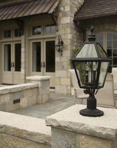 Coach Light Set Into Masonry Column. Home Built By Martin Bros.  Contracting, Inc