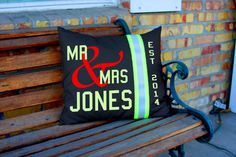 Wedding Pillow Firefighter Themed by FullyInvolvedStch on Etsy